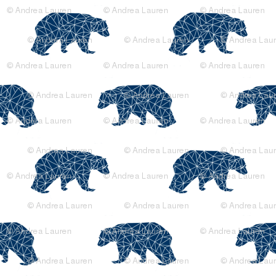 geo bear // navy blue bear fabric nursery bear design baby boy fabric andrea lauren design