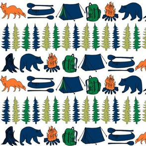camping animals // orange and navy design nursery baby boy fabric andrea lauren design baby boy fabric