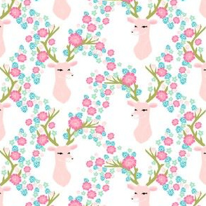 floral deer // florals pink and green deer fabric floral deer antlers deer fabric andrea lauren deer fabric