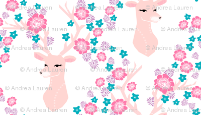 floral deer // pink purple turquoise deer fabric pink florals deer fabric andrea lauren design