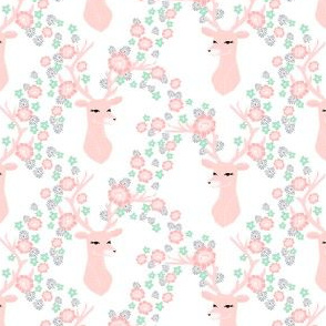 floral deer // pink mint and grey deer fabric nursery baby design floral deer nursery fabric andrea lauren design