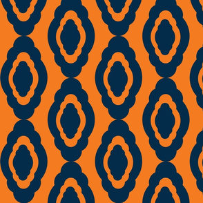 Damask LG- dark navy orange