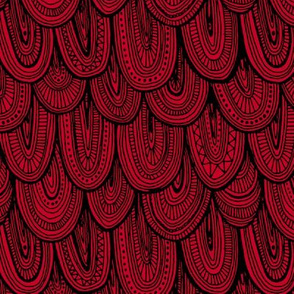 Doodle Scales - Black on Red