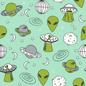 ufos // mint and green alien design fabric 90s throwback fabric cute aliens retro spaceships planets fabric andrea lauren outer space fabric