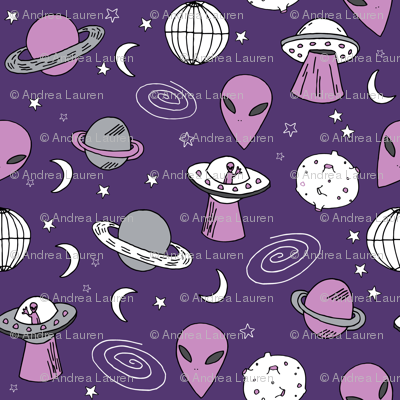 ufo // ufos spaceships space aliens fabric outer space design purple fabric andrea lauren design