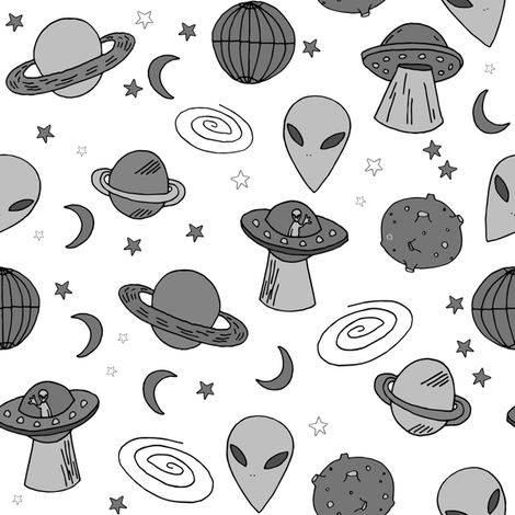 Ufos ufo aliens fabric grey and white kids space fabric for Kids space fabric