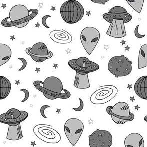 ufos // ufo aliens fabric grey and white kids space fabric 90s design spaceships 90s 80s trend andrea lauren fabric