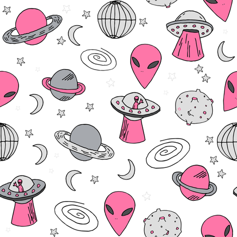 ufos // pink and grey ufo alien fabric 90s design andrea lauren fabric 80s design fabric by andrea_lauren on Spoonflower - custom fabric