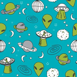ufos // turquoise alien fabric aliens and spaceships fabric planets design 90s fabric andrea lauren fabric