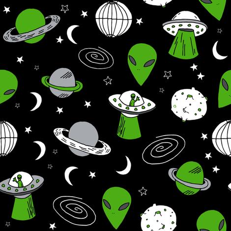 Ufo ufos green martian fabric 90s spaceman design for Spaceman fabric