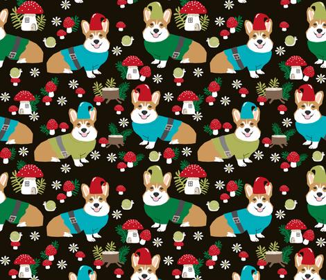 corgi gnomes - large size - cute woodland gnome mushrooms fabric fabric by petfriendly on Spoonflower - custom fabric