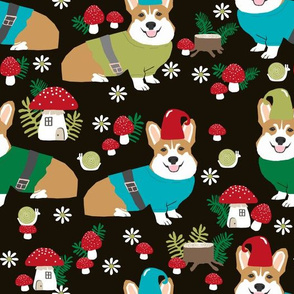corgi gnomes - large size - cute woodland gnome mushrooms fabric