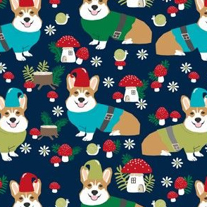 corgi gnomes dark navy blue- cute woodland gnome mushrooms fabric