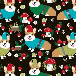 corgi gnomes black - cute woodland gnome mushrooms fabric