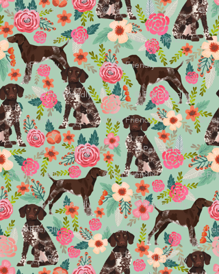 german shorthaired pointer floral fabric cute dogs design dog floral fabric