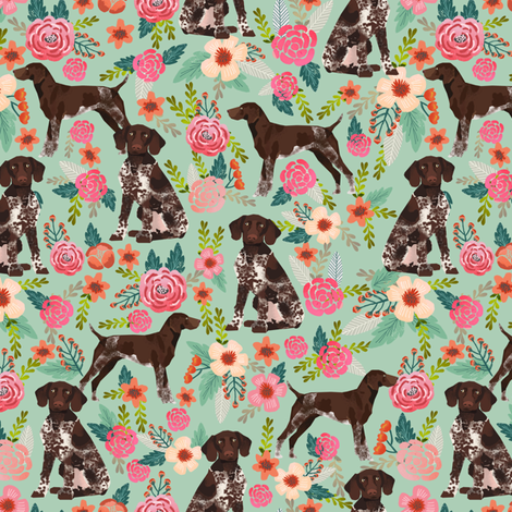german shorthaired pointer floral fabric cute dogs design dog floral fabric fabric by petfriendly on Spoonflower - custom fabric