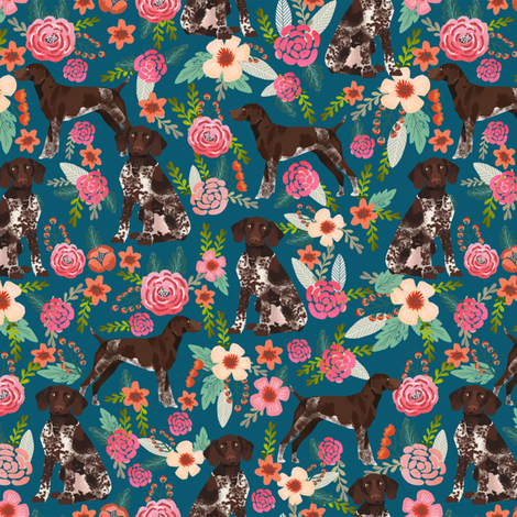 german shorthaired pointer floral dog fabric blue fabric florals design fabric by petfriendly on Spoonflower - custom fabric