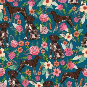 german shorthaired pointer floral dog fabric blue fabric florals design