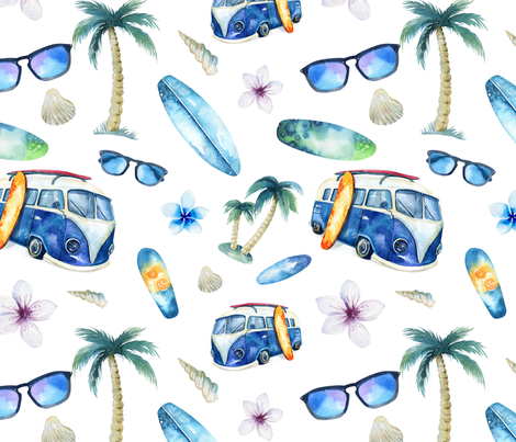 Watercolor beach fabric by peace_shop on Spoonflower - custom fabric