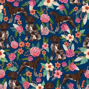 german shorthaired pointer floral navy blue dog fabric cute florals design
