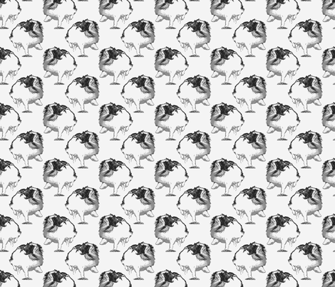 Frolicking Japanese Chin - small gray fabric by rusticcorgi on Spoonflower - custom fabric