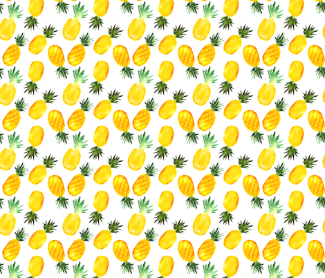 Watercolor pineapples fabric by katerinaizotova on Spoonflower - custom fabric