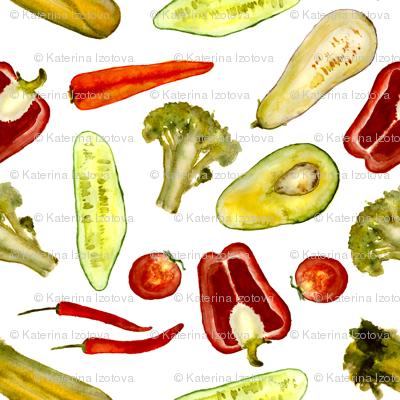 Watercolor vegetarian pattern
