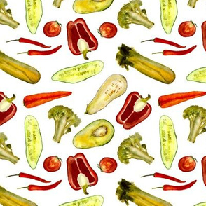 Watercolor vegetarian pattern