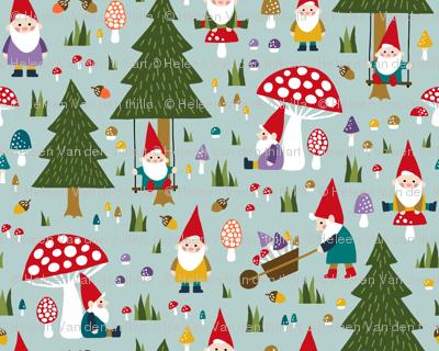 Happy gnomes playing between fungi
