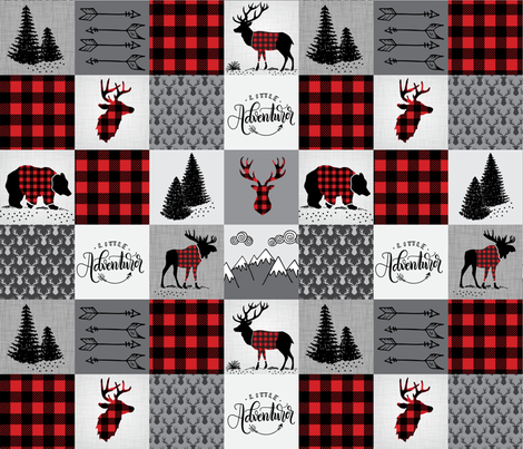 Buffalo plaid patchwork faux quilt - 24 inch repeat  fabric by howjoyful on Spoonflower - custom fabric