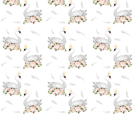 "7"" White Swans with Feathers  fabric by shopcabin on Spoonflower - custom fabric"
