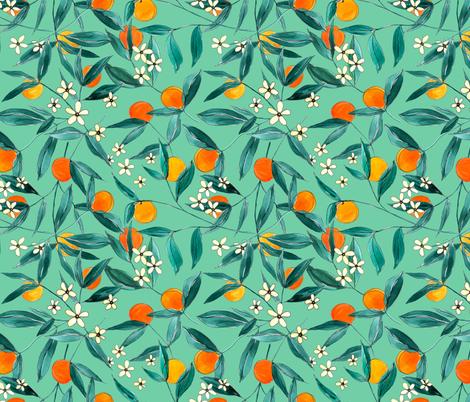 Orange Summer (Light Green) fabric by joy&ink on Spoonflower - custom fabric