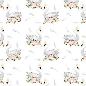 "2.5"" White Swans with Feathers"