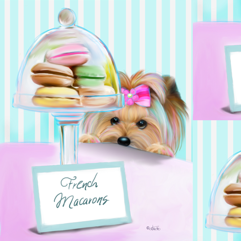 Yorkie French Macaroons L fabric by catialee on Spoonflower - custom fabric