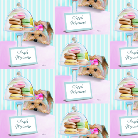 Yorkie French Macaroons M fabric by catialee on Spoonflower - custom fabric