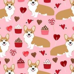 corgi valentines - pink cute valentines heart love fabric love fabrics corgis