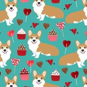 corgi valentines fabric cupcakes hearts love corgis fabric