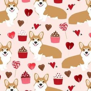corgi valentines fabric valentines day love design cupcakes love corgis design