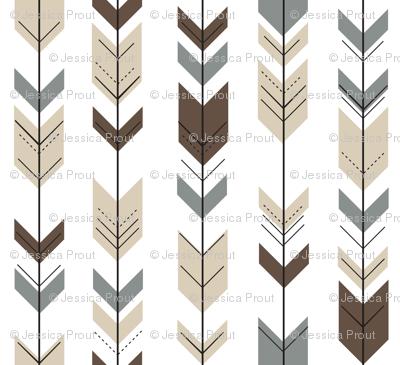 fletching arrows    brown/tan/dark grey