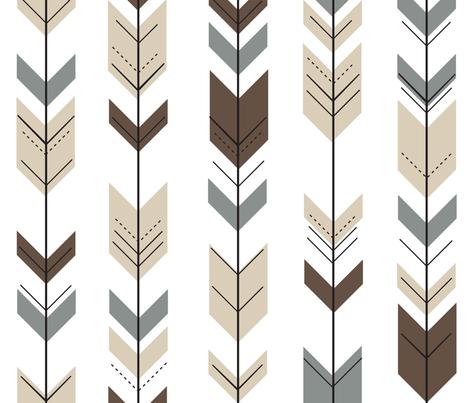 fletching arrows    brown/tan/dark grey fabric by littlearrowdesign on Spoonflower - custom fabric