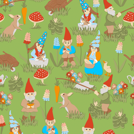 Gnaturally Gnomes on Green fabric by eclectic_house on Spoonflower - custom fabric