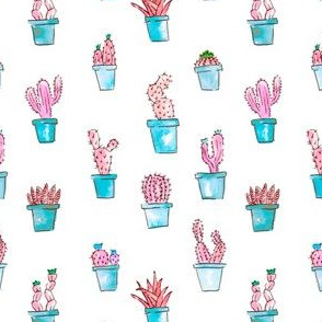 Cactus Succulent Garden in Psychedelic Pink