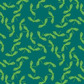 Tiny Green Dragonflies on Dark Blue-Green