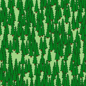 Repeating pine green forest