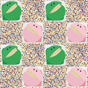 Frog cakes with sprinkles