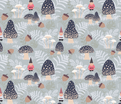 Frosty Forest Gnomes fabric by byre_wilde on Spoonflower - custom fabric