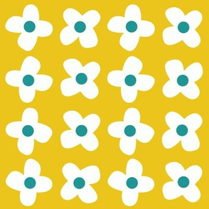 retro flowers yellow