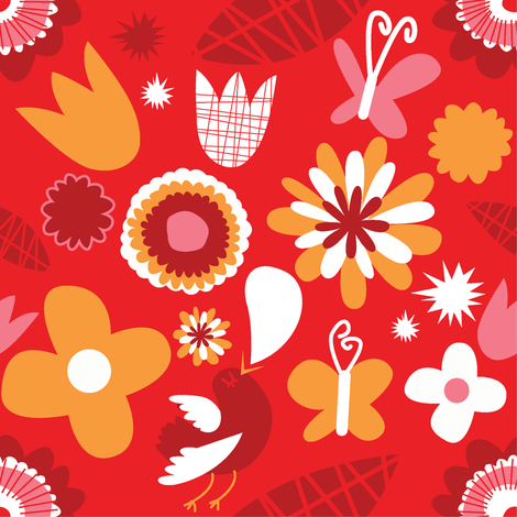 retro flowers red fabric by laurawrightstudio on Spoonflower - custom fabric
