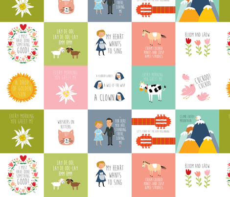 Sound of music quilt quotes fabric by laurawrightstudio on Spoonflower - custom fabric
