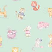 Cats and bunny rabbits Watercolor illustration